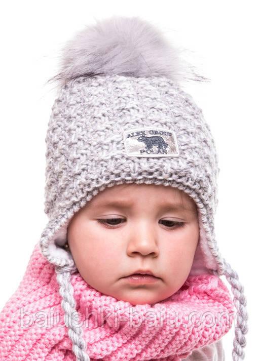 Дитяча зимова шапка для дівчинки (фліс), р. 46-50