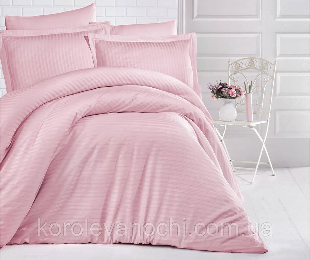 """Сімейний комплект (Страйп Сатин)   Постільна білизна від виробника """"Королева Ночі""""   Рожевий страйп сатин"""