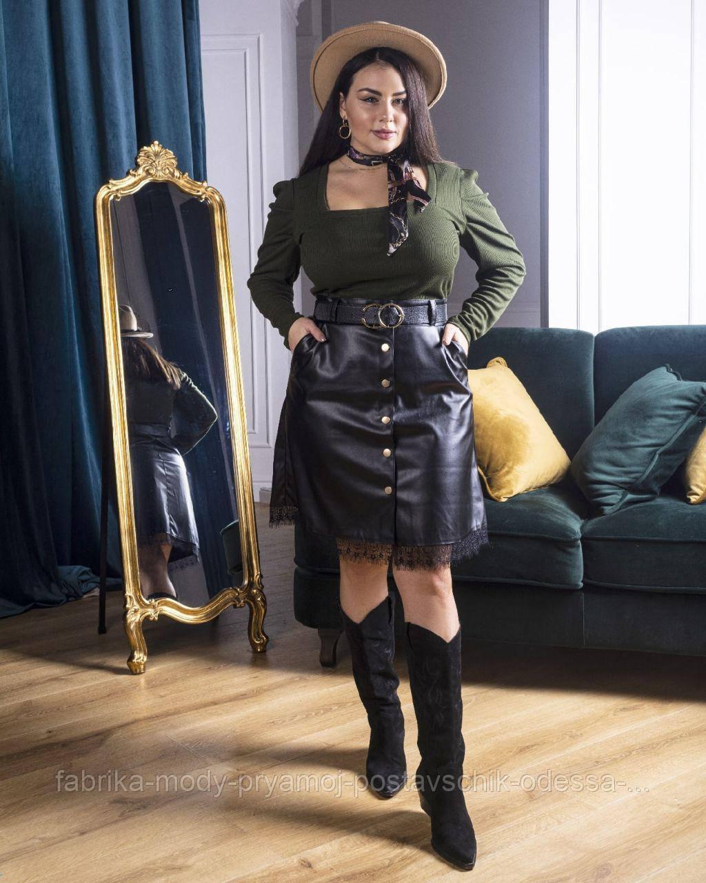 Женская юбка кожаная короткая мод.740 Анна Оди размер 42/60