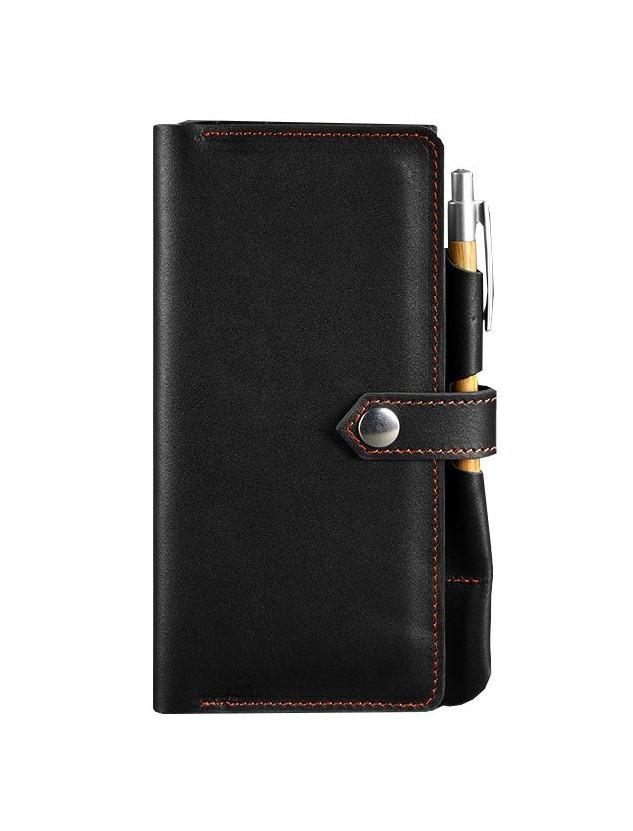Клатч-кошелек кожаный мужской черный с оранжевым