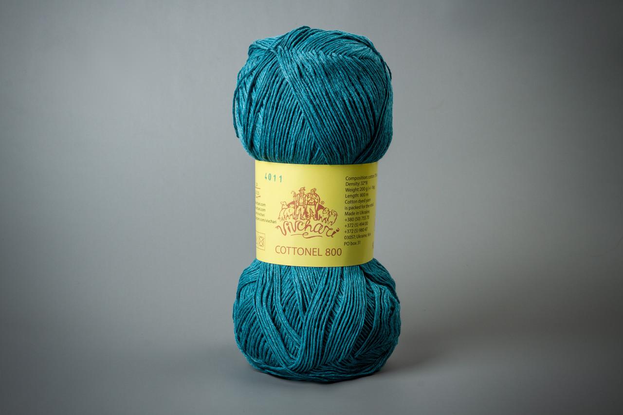 Пряжа хлопковая Vivchari Cottonel 800, Color No.4011 морская волна