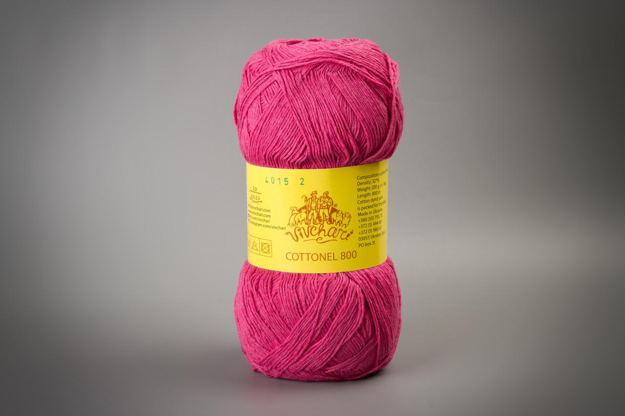 Пряжа хлопковая Vivchari Cottonel 800, Color No.4015 малиновый