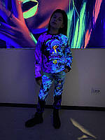 Детский светящийся костюм унисекс Brawl Stars Leon ( синие огни) +маска в Подарок