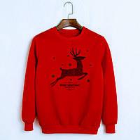 Батник свитшот свитер новогодние олени мужской женский утепленный 44 46 48 50 52 54