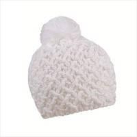 Женская шапка вязаная белая с бубоном зимняя
