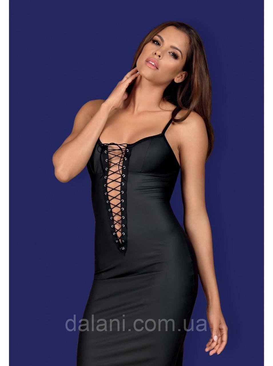 Шикарное прилегающее черное платье-пеньюар со шнуровкой и стрингами