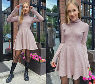 Платье пудровое из ангоры под горло колокольчик, фото 2