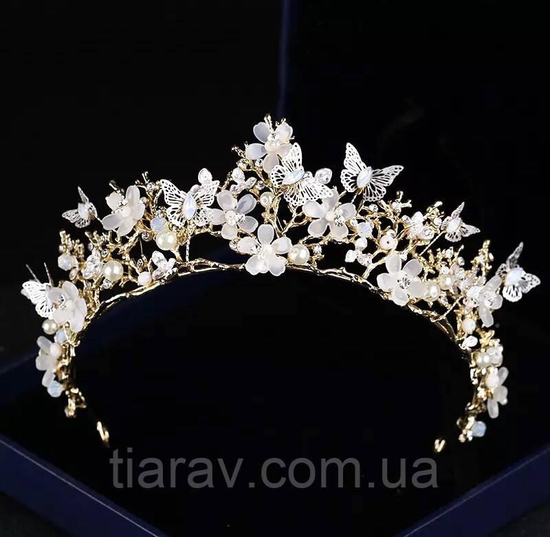 Тіара з метеликами, діадема МОЛЛІ, красива діадема для волосся