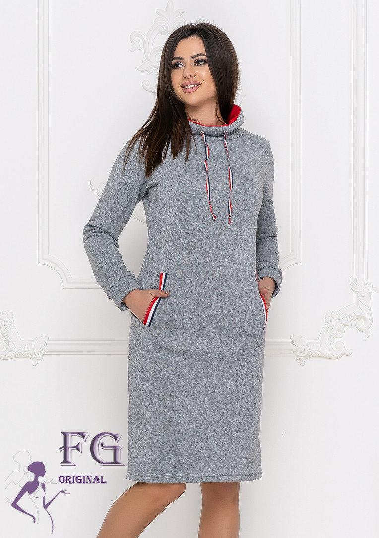 Платье серое теплое в спортивном стиле фасон худи размеры до 56