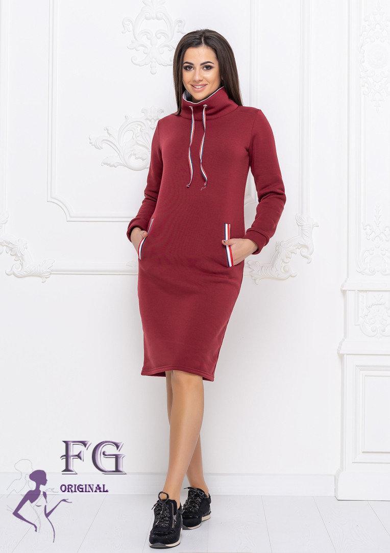 Платье бордовое теплое в спортивном стиле фасон худи размеры до 56