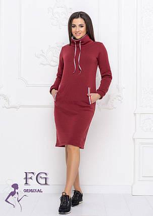 Платье бордовое теплое в спортивном стиле фасон худи размеры до 56, фото 2