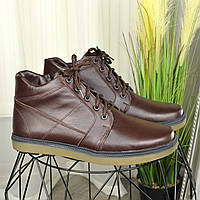 Ботинки мужские на утолщенной подошве, натуральная коричневая кожа флотар.