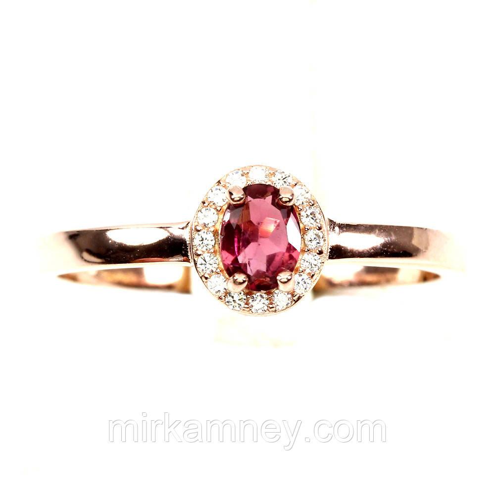 Кольцо Розовый Турмалин (Бразилия). Размер 19. Серебро 925 в позолоте 14 карат