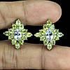 Серьги Аквамарин (Санта-Мария) и Перидот (Пакистан). Серебро 925, покрытие золотом 14 карат, фото 2