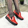 Туфлі жіночі з натуральної шкіри червоного кольору на товстій підошві, фото 2