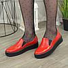 Туфлі жіночі з натуральної шкіри червоного кольору на товстій підошві, фото 3