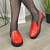 Туфлі жіночі з натуральної шкіри червоного кольору на товстій підошві, фото 4
