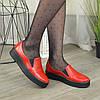 Туфлі жіночі з натуральної шкіри червоного кольору на товстій підошві, фото 5