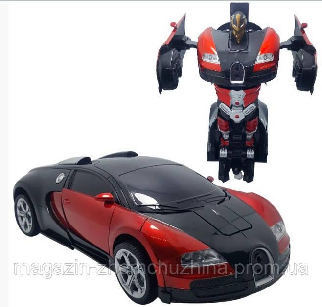 Sale! Машинка Трансформер Bugatti Robot Car Size 18 Красная