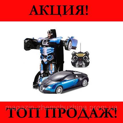 Sale! Большой размер Машинка Трансформер Bugatti Robot Car Size 1:12 Синяя, фото 2