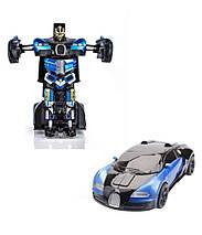 Sale! Большой размер Машинка Трансформер Bugatti Robot Car Size 1:12 Синяя, фото 3