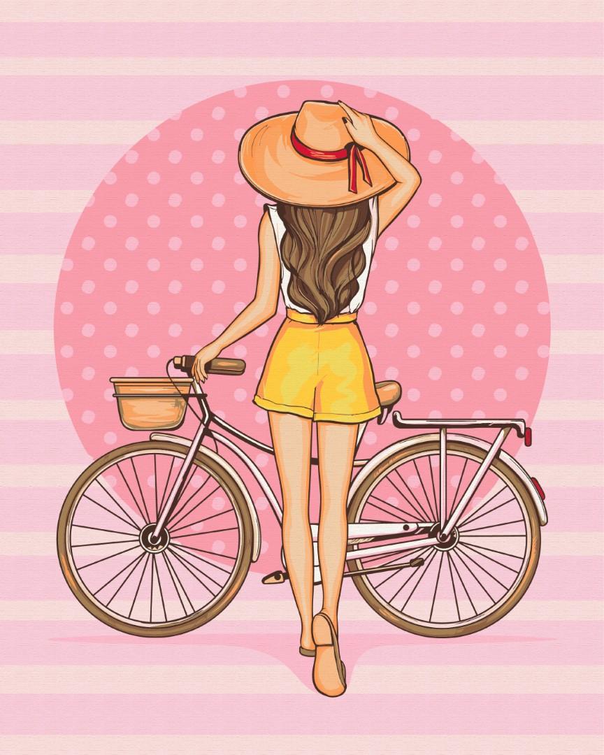Картина по номерам Brushme Девушка с велосипедом