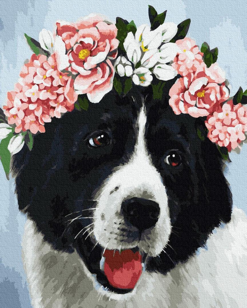Картина по номерам Brushme Собачка в цветах