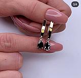 Срібні сережки з чорним цирконом і золотом Березня, фото 2