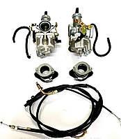 Карбюратор PZ-30 с ускорителем переходниками МТ, УРАЛ , К-750 + трос газа 2шт