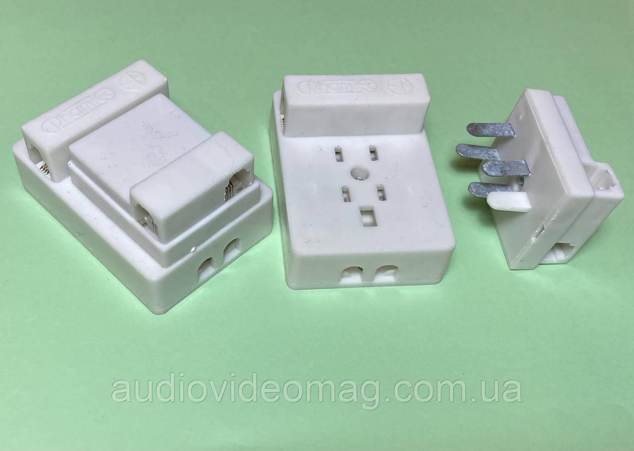 Розетка + вилка адаптеры телефонные, цвет белый