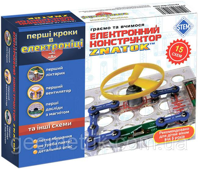 """Конструктор - ЗНАТОК """"Перші кроки в електроніці"""" (15 схем, набір А)"""