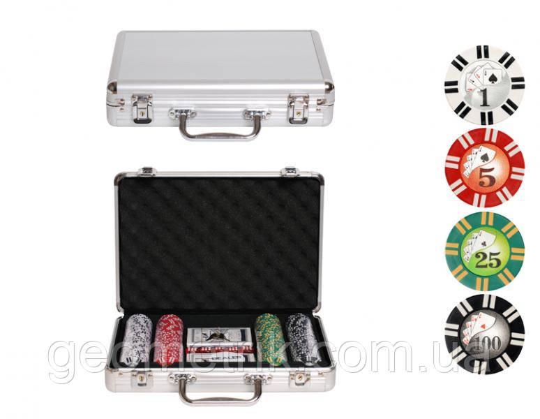 Набір для покеру (200 фішок З НОМІНАЛОМ, 2 колоди карт, 5 кубиків), у валізі. 31-21-7,5 см