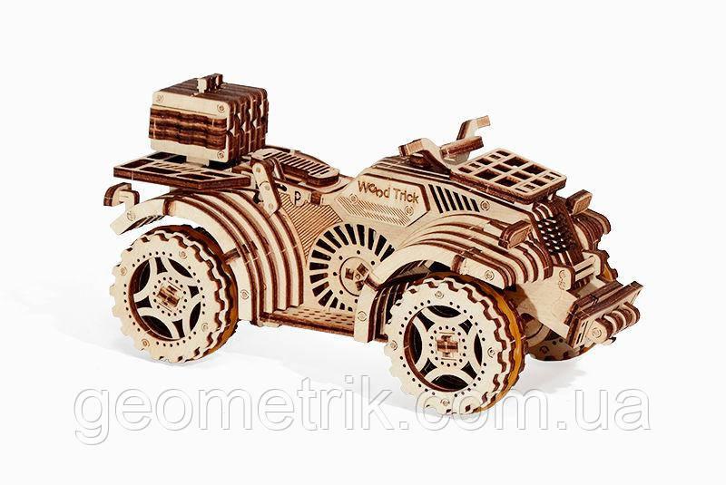 Wood Trick механический 3D пазл Квадроцикл (137 деталей) (механический деревянный конструктор)