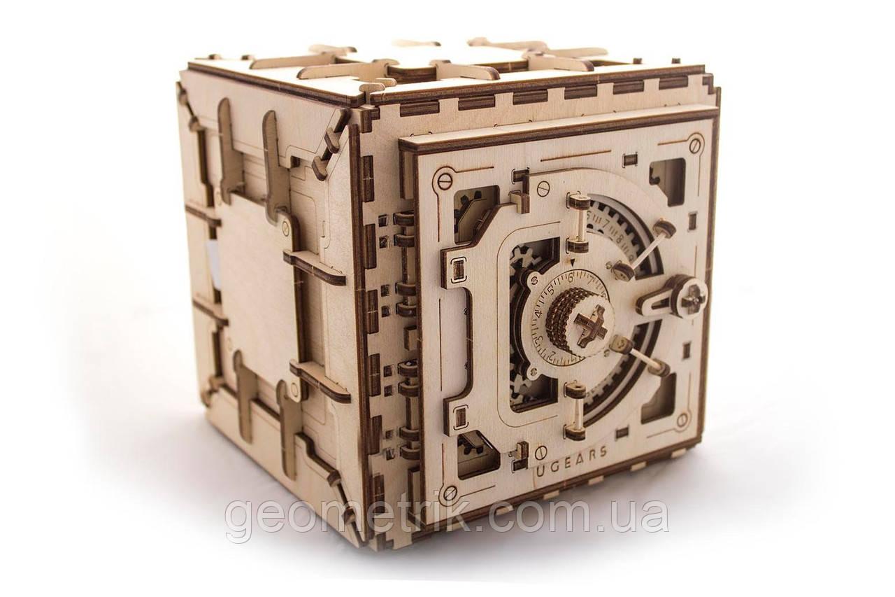 UGEARS Механічний 3D пазл Сейф (179 деталей) (дерев'яний пазл, конструктор з дерева)