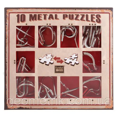 Металеві пазли - 10 Metall Puzzles red | 10 головоломок (розвиваючі ігри, набір головоломок)
