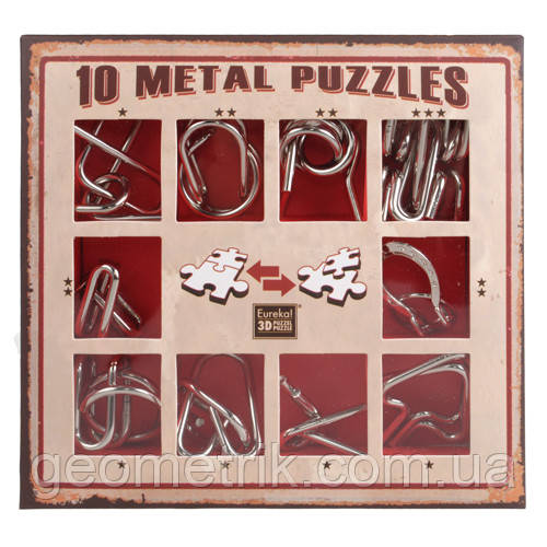 Металлические пазлы - 10 Metall Puzzles red | 10 головоломок (развивающие игры, набор головоломок)