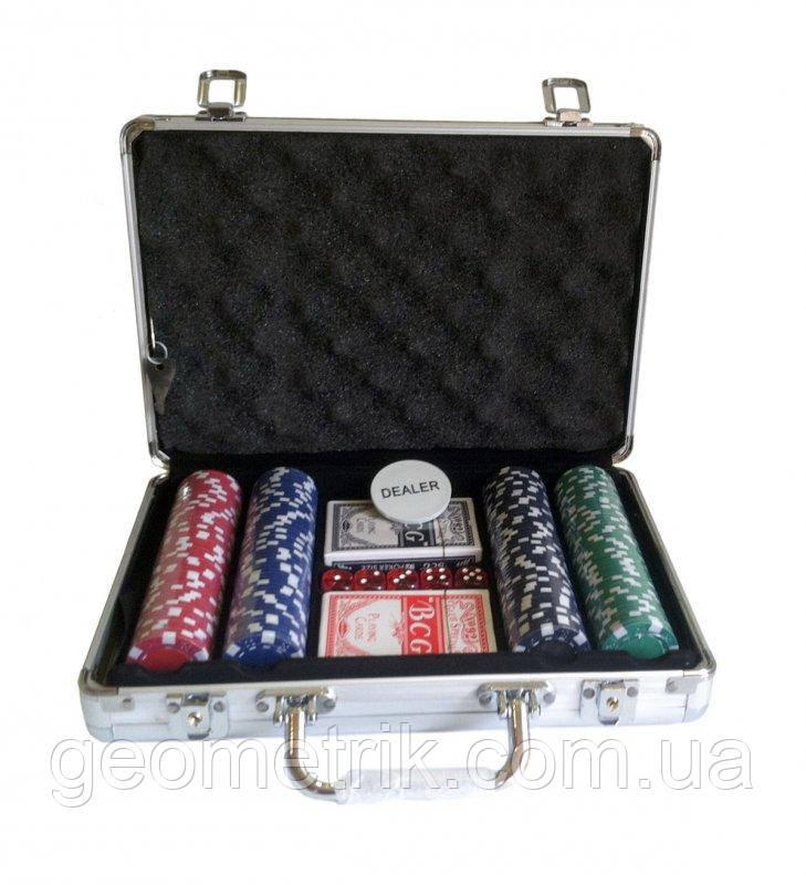 Набір для покеру (200 фішок, 2 колоди карт, 5 кубиків), в алюмінієвому валізі. 31-21-7,5 см (покерний набір в