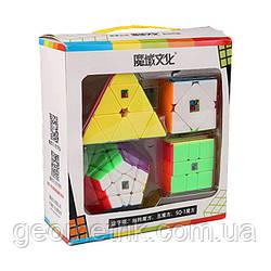 MoYu подарунковий набір (пірамідка, мегаминкс, скьюб, скваер) (кольоровий) (набір головоломок MoYu)