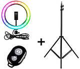 Кольцевая лампа 26 см RGB со штативом на 2м для телефона цветное селфи кольцо разноцветная кольцевая лампа, фото 3