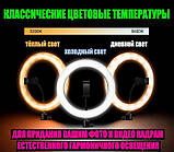 Кольцевая лампа 26 см RGB со штативом на 2м для телефона цветное селфи кольцо разноцветная кольцевая лампа, фото 8