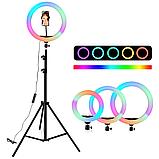 Разноцветная Кольцевая LED лампа Ring Light RGB MJ-33 (33 см) на 12 цветов ( Штатив в комплекте) цветная лампа, фото 2