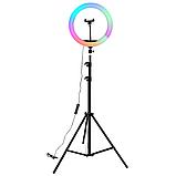 Разноцветная Кольцевая LED лампа Ring Light RGB MJ-33 (33 см) на 12 цветов ( Штатив в комплекте) цветная лампа, фото 3