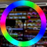 Разноцветная Кольцевая LED лампа Ring Light RGB MJ-33 (33 см) на 12 цветов ( Штатив в комплекте) цветная лампа, фото 6