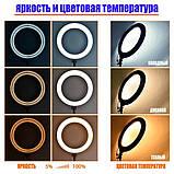 Кольцевая лампа разноцветна LED RGB лампа свет MJ36 (36 см) (3 крепления) кольцевая лампа цветная селфи кольцо, фото 7
