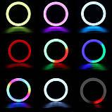 Кольцевая лампа разноцветна LED RGB лампа свет MJ36 (36 см) (3 крепления) кольцевая лампа цветная селфи кольцо, фото 9