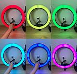 Кольцевая лампа LED RGB MJ 18 (45 см) (3 крепление) радуга Разноцветная кольцевая лампа  Селфи кольцо RGB, фото 3