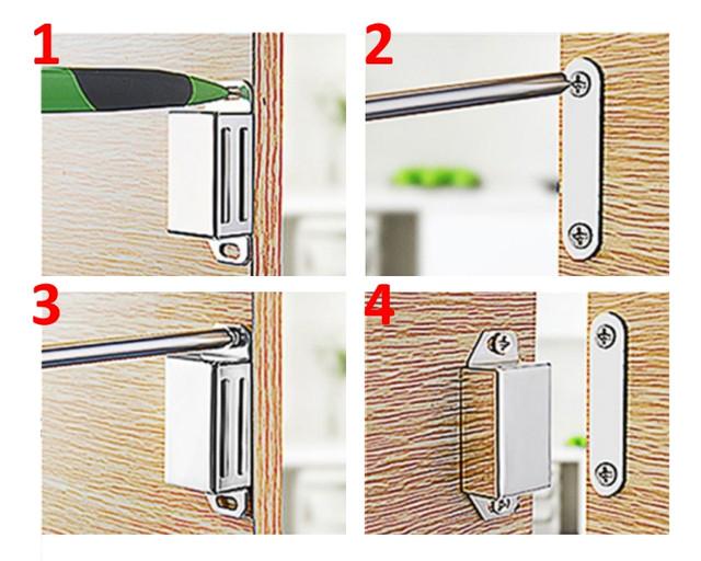 Как установить магнитную защелку на мебель