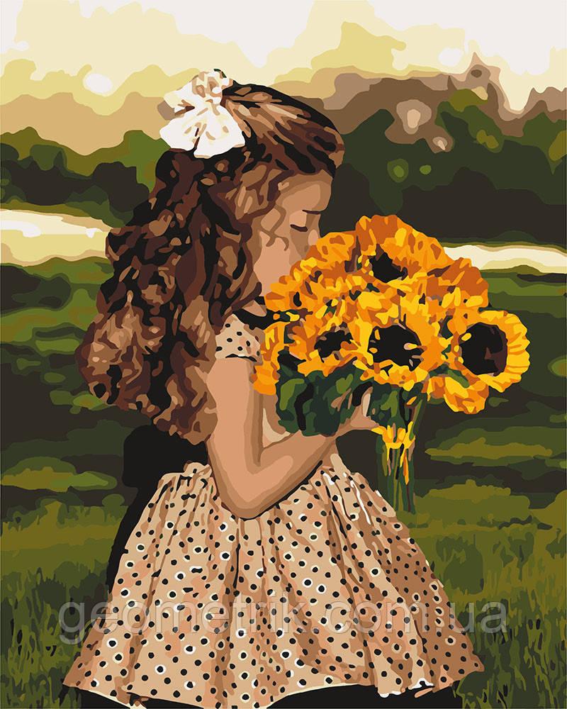 Картина по номерам.  Девочка с подсолнухами 40х50см арт. КНО4662