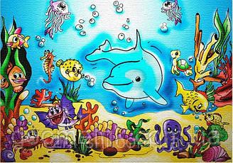"""Роспись по холсту для детей. """"Подводный мир"""" 25х35см арт. 7115/3"""