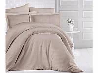 Качественное Семейное постельное белье ARAN CLASY с двумя пододеяльниками Страйп-Сатин Cappuccino, Турция